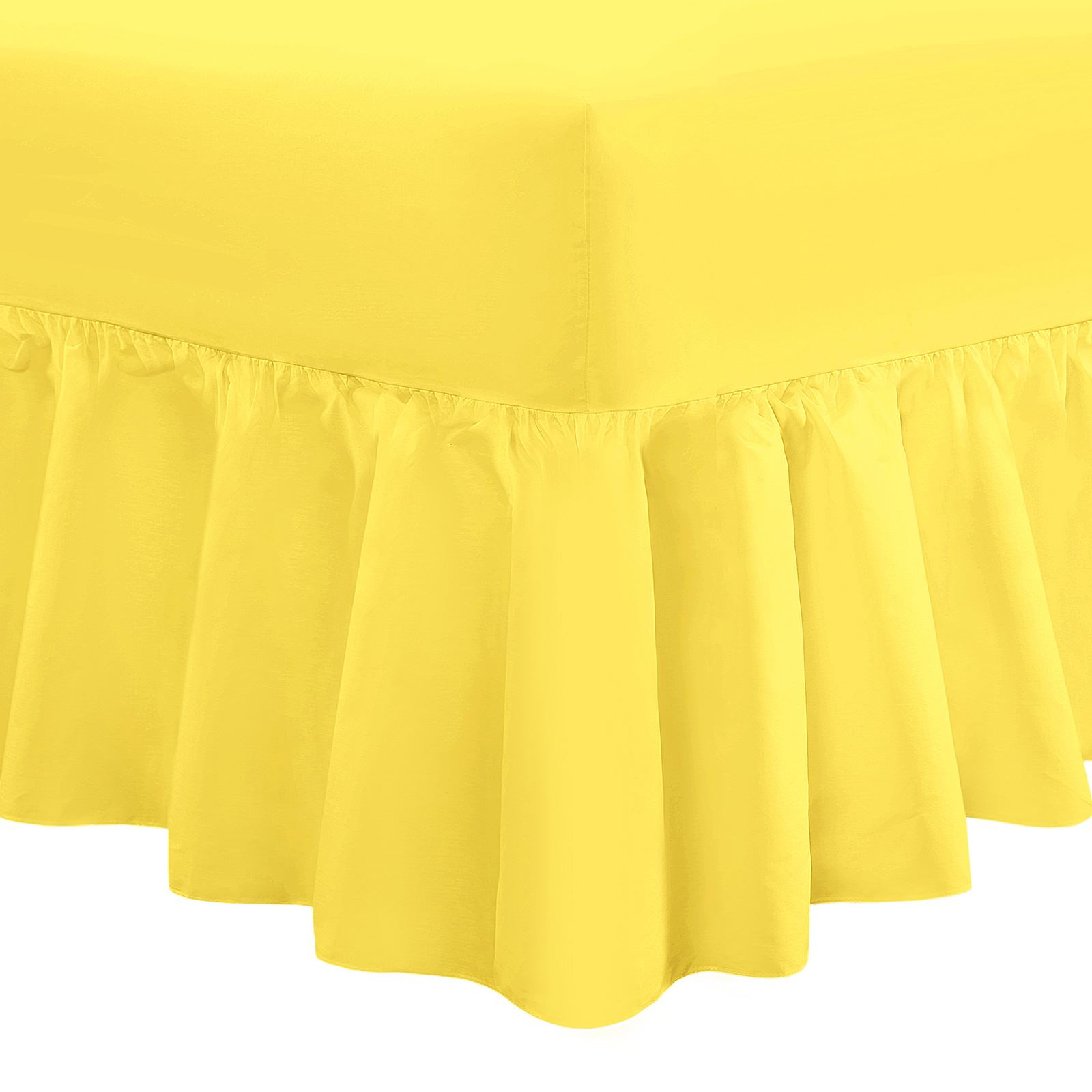 Plain-Frilled-Fitted-Valance-Sheet-Cotton-Blend-Sheets-Single-Double-Super-King miniatuur 5