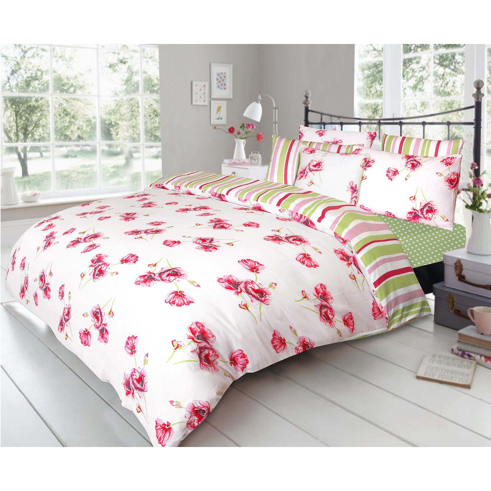 Poppy Floral 100 Cotton Quilt Duvet Cover Pillowcase Soft Bedding Set White Red Ebay
