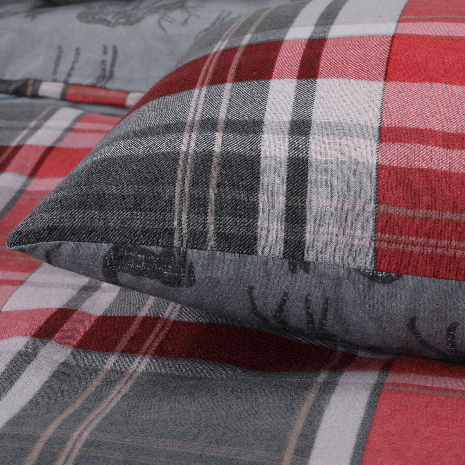Tartan-100-Brushed-Cotton-Duvet-Cover-Flannelette-Check-Quilt-Set-Bed-Linen-Set thumbnail 11