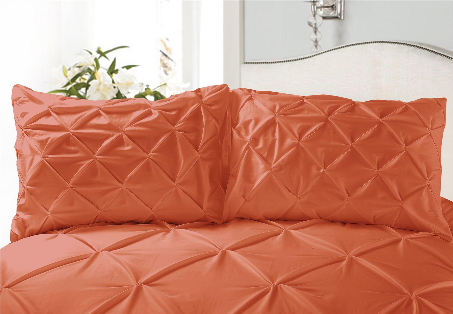 Luxury-Pure-100-Cotton-200-Thread-Pinch-Pleat-Pintuck-Puckering-Duvet-Cover-Set thumbnail 24