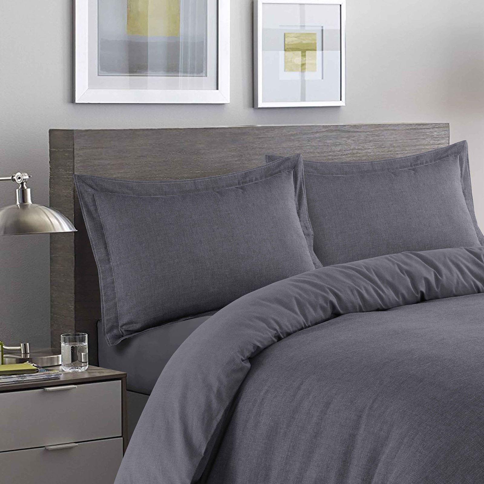 Luxury-Herringbone-Woven-100-Cotton-Duvet-Cover-Bedding-Set-Single-Double-King thumbnail 3