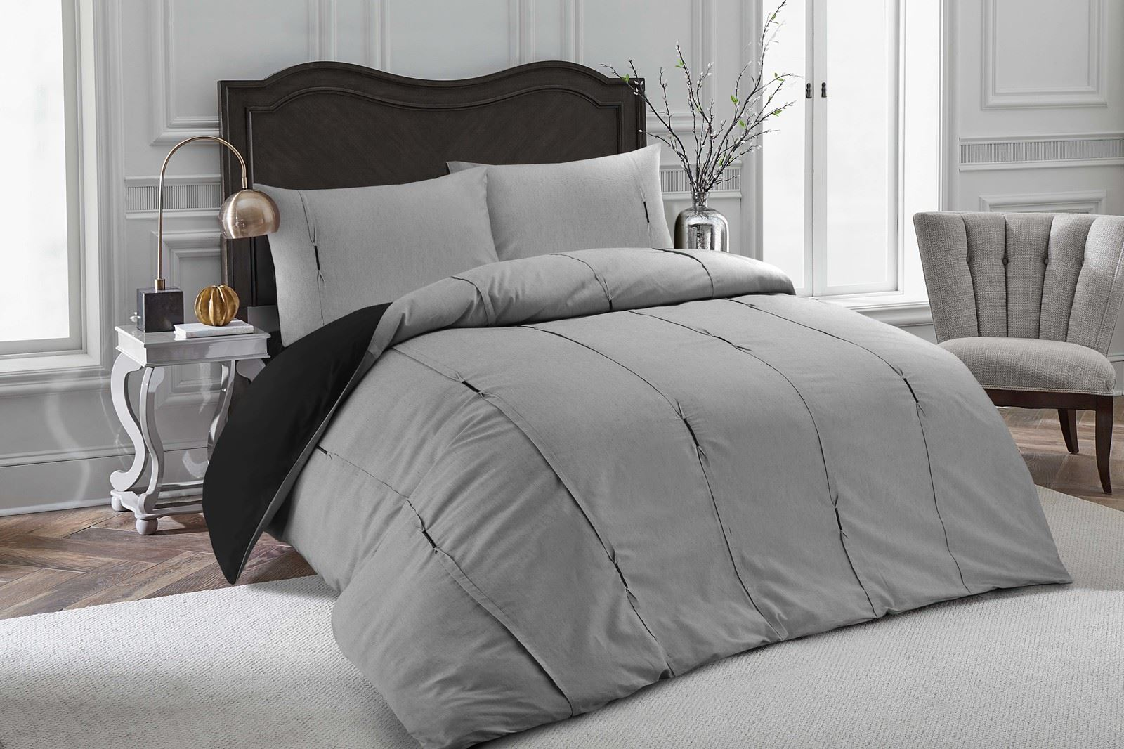 Luxury-Embellished-Duvet-Cover-Set-Single-Double-Super-King-Size-Bedding-Grey thumbnail 6