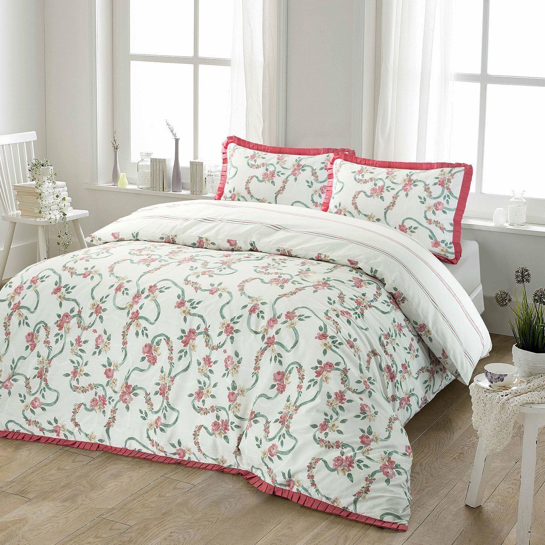 Volantes-Floral-Rosa-Volante-Edredon-Duvet-cover-set-solo-Doble-Super-Rey-Ropa-De-Cama miniatura 7