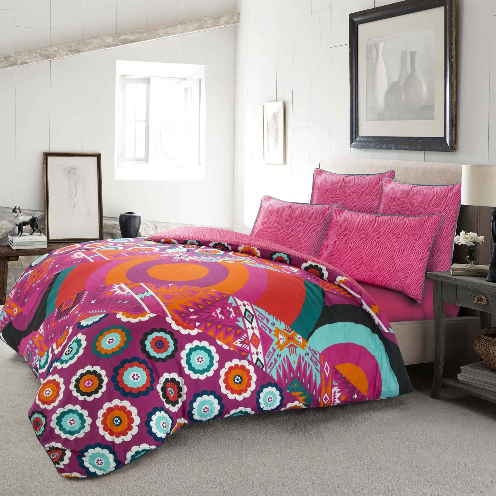 Ropa-de-cama-estampado-floral-bohemio-conjunto-de-edredon-de-funda-nordica-individual-Doble-King miniatura 6