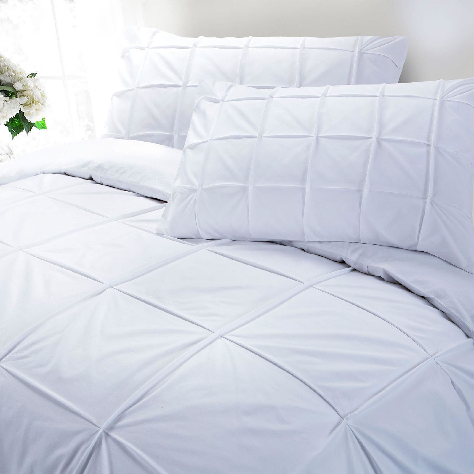 Cartier-100-Egyptian-Cotton-200-Thread-Percale-Pintuck-Duvet-Cover-Bedding-Set thumbnail 7