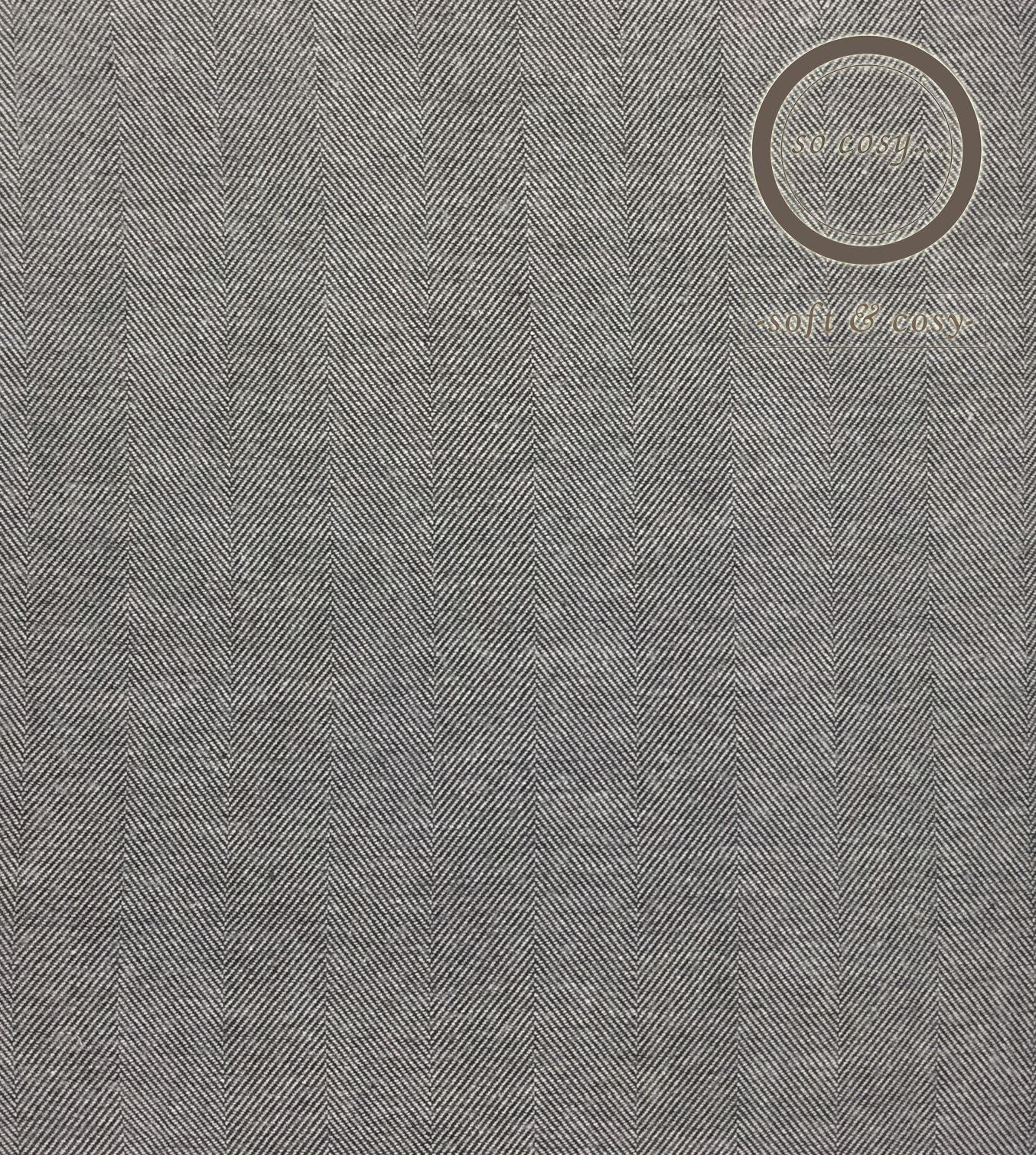 Herringbone-Tejido-Gris-100-Algodon-Cepillado-Franela-flanelita-duvet-cover-set miniatura 4