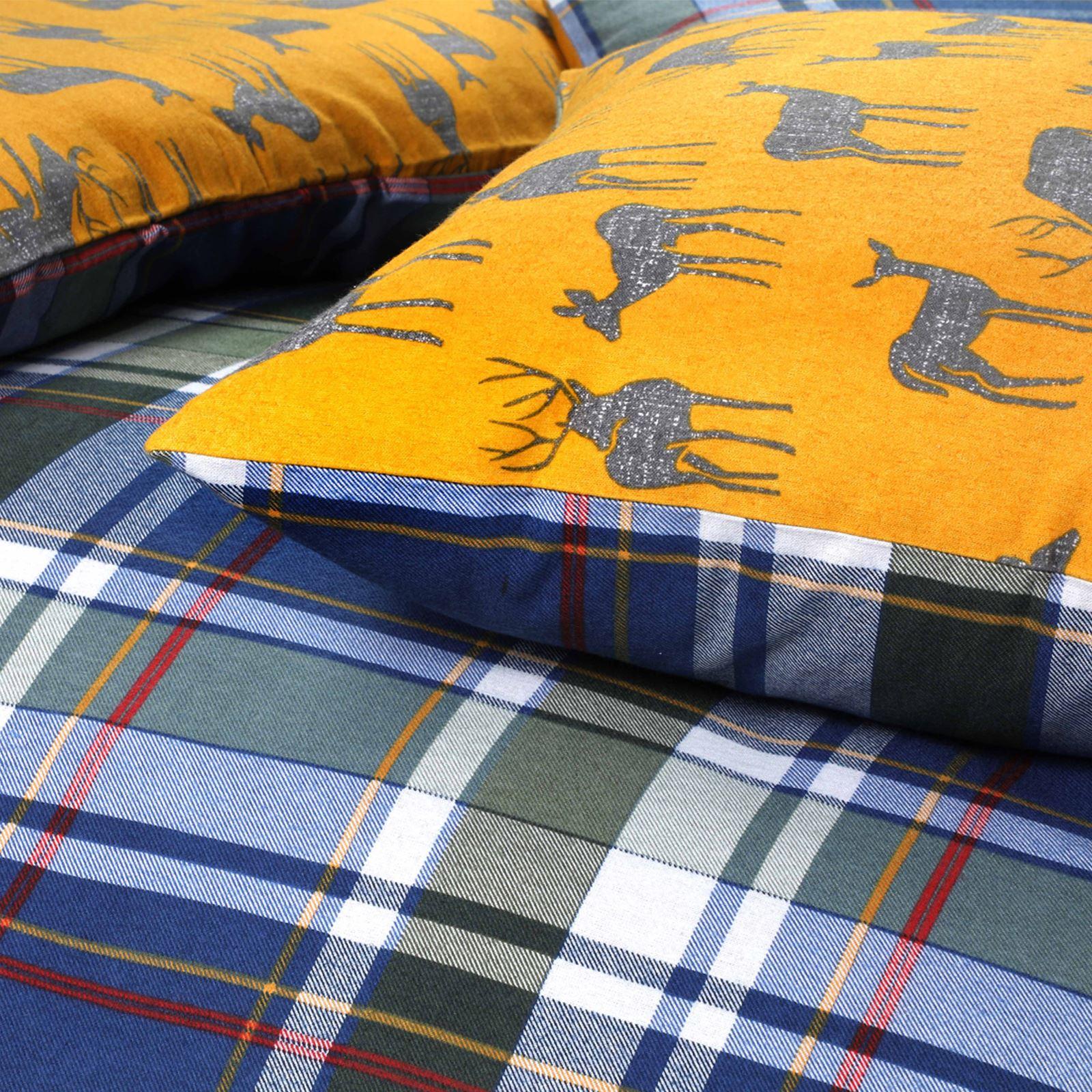 Tartan-100-Brushed-Cotton-Duvet-Cover-Flannelette-Check-Quilt-Set-Bed-Linen-Set thumbnail 9