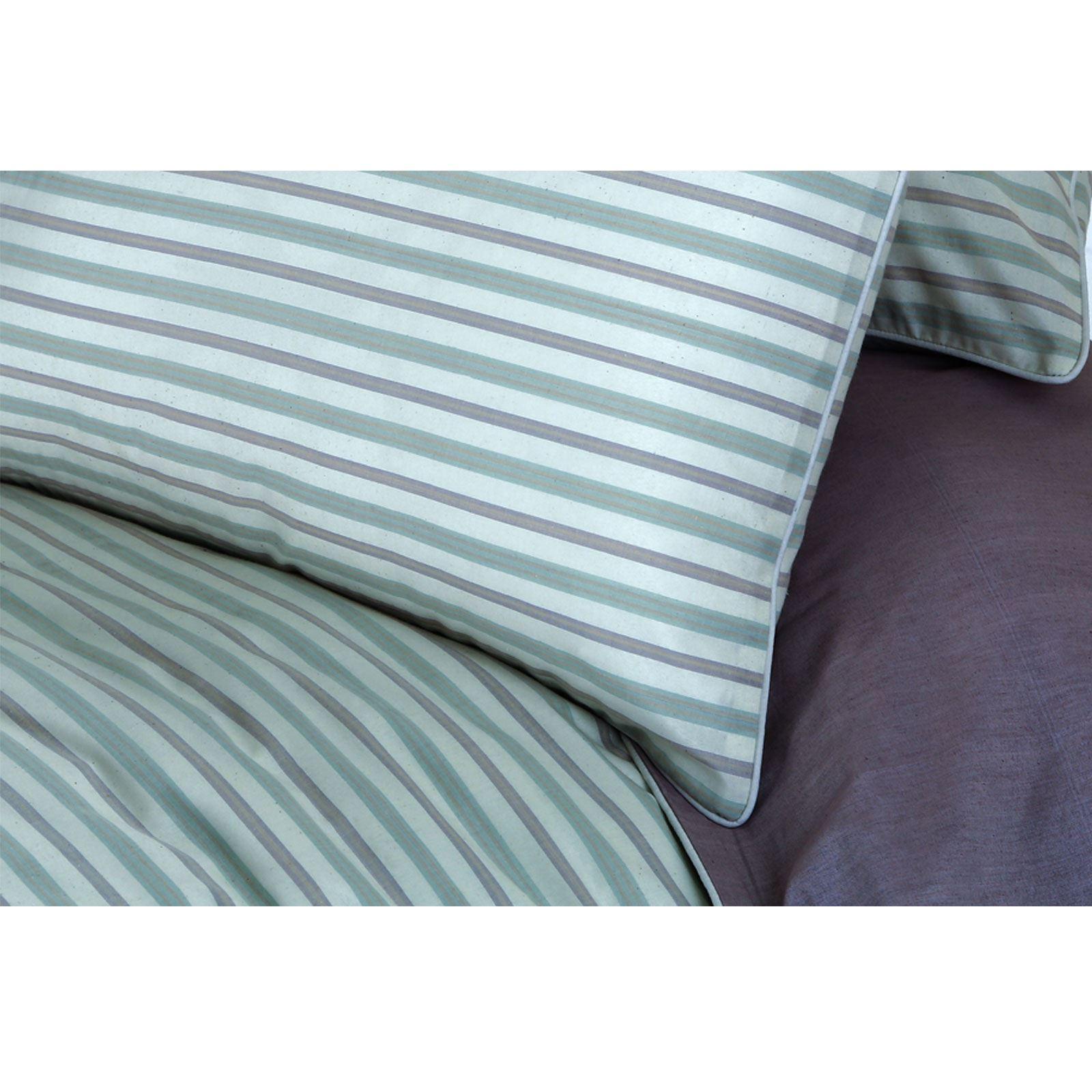 Hilo-de-algodon-de-lujo-Rico-Suave-Chambray-tenido-de-Cubierta-de-edredon-a-rayas-de-tejido-a-rayas miniatura 9