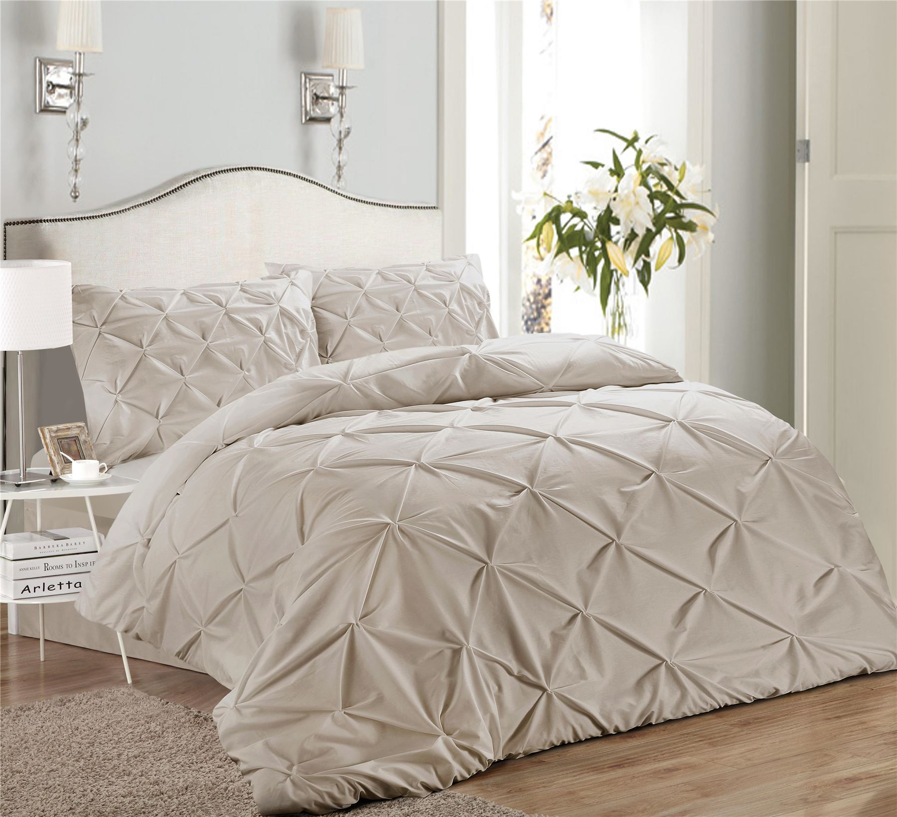 Luxury-Pure-100-Cotton-200-Thread-Pinch-Pleat-Pintuck-Puckering-Duvet-Cover-Set thumbnail 55