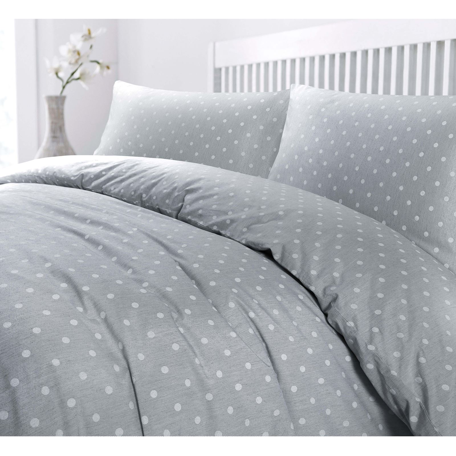 fil a fil end on end woven polka dots duvet quilt cover pillow case bedding set ebay. Black Bedroom Furniture Sets. Home Design Ideas