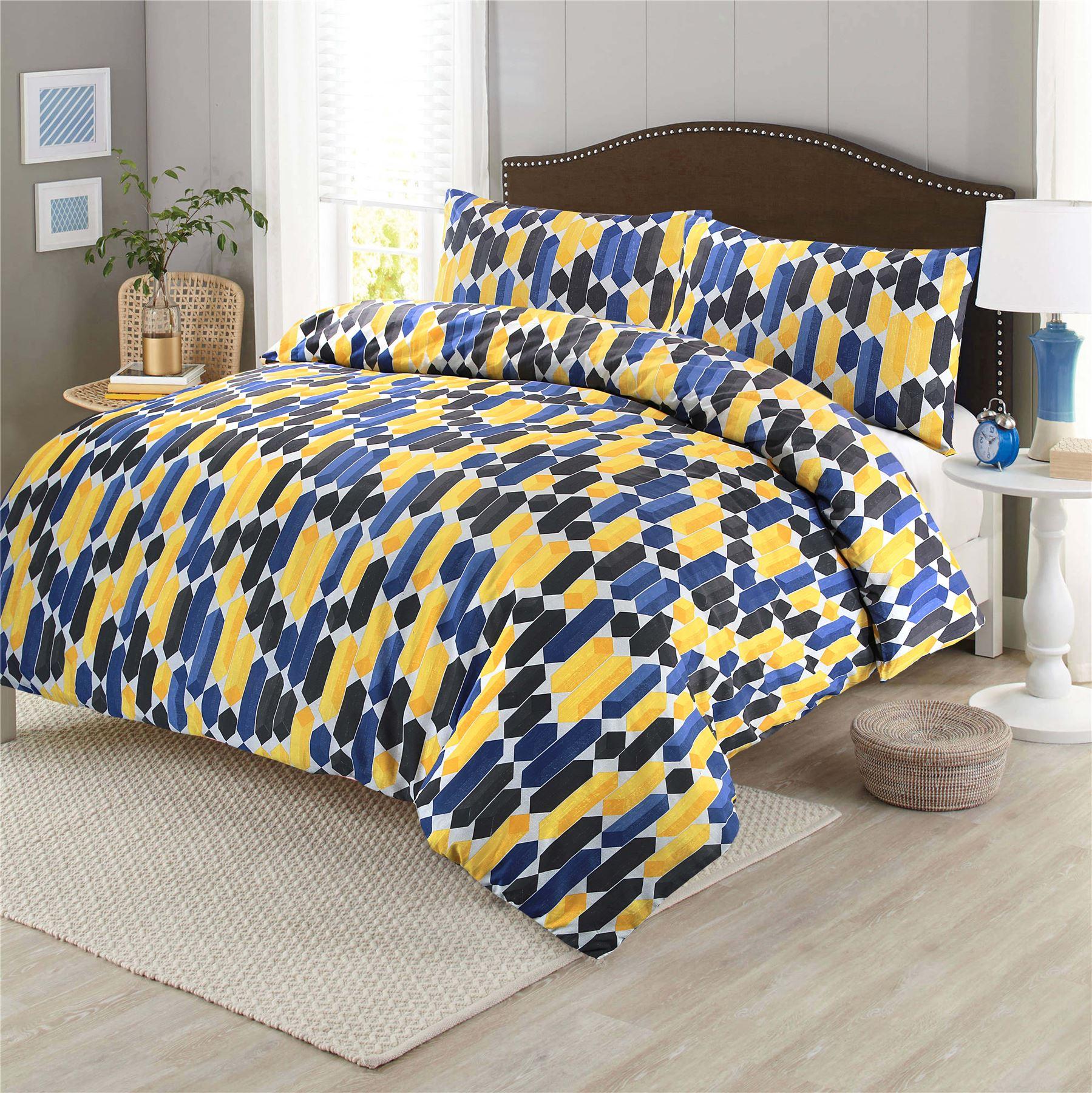 Geometric Shapes Printed Duvet Cover Set Quilt Bedding Single Double King Blue