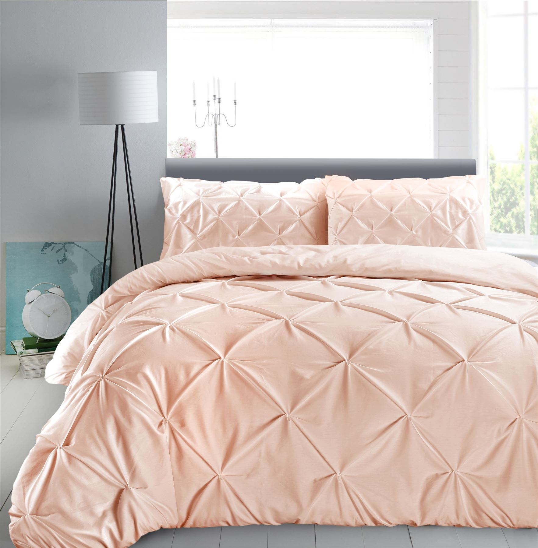 Luxury-Pure-100-Cotton-200-Thread-Pinch-Pleat-Pintuck-Puckering-Duvet-Cover-Set thumbnail 7