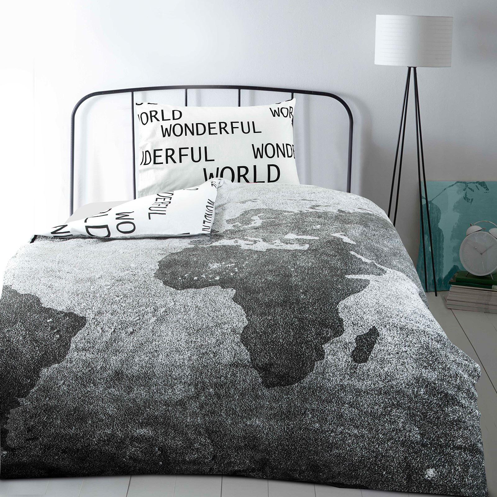 Modern stylish wonderful world map grey white single bed quilt duvet resntentobalflowflowcomponenttechnicalissues gumiabroncs Images