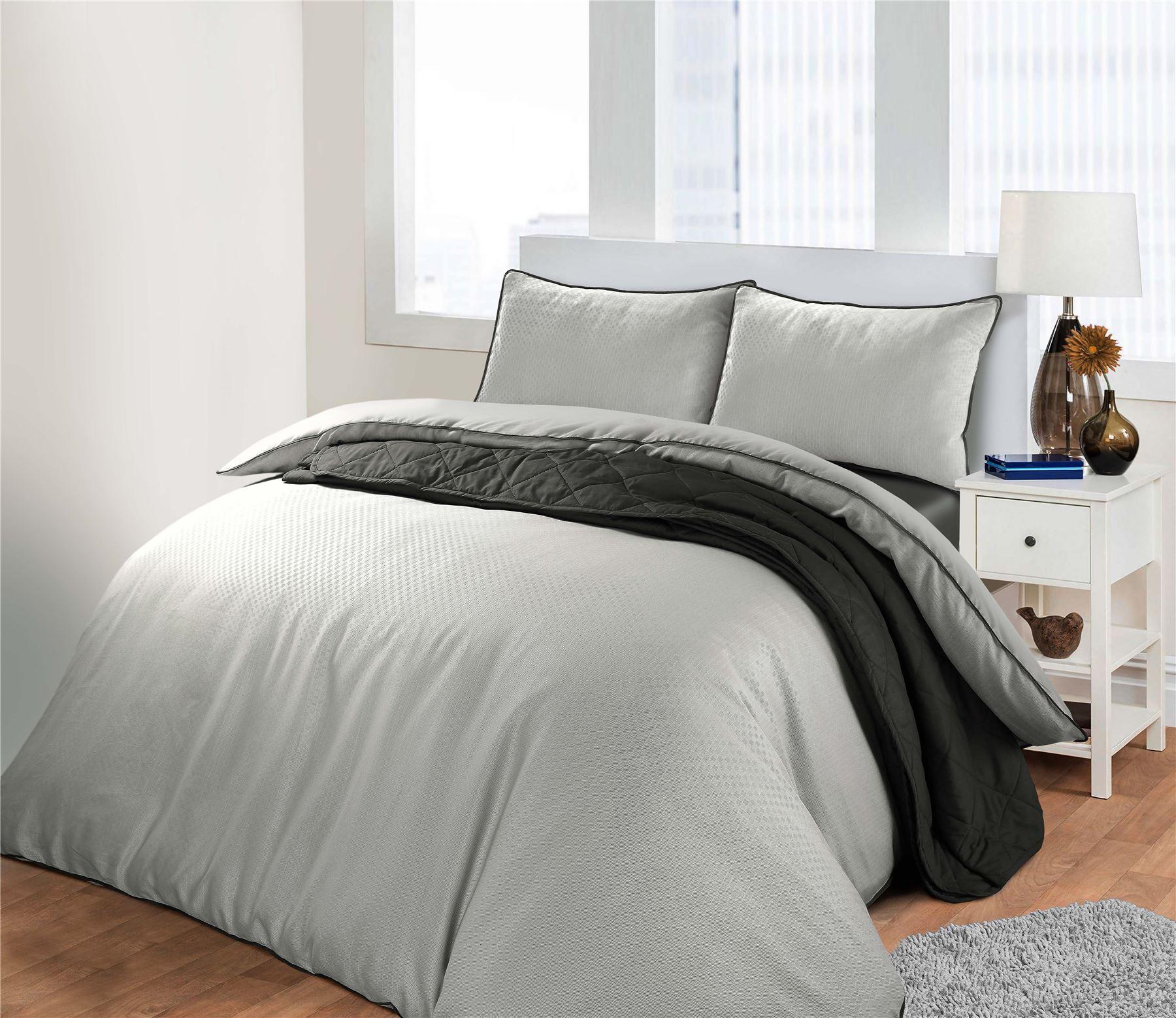 Sleepdown WAFFLE Polycotton Reversible Duvet Cover Set with Pillowcases