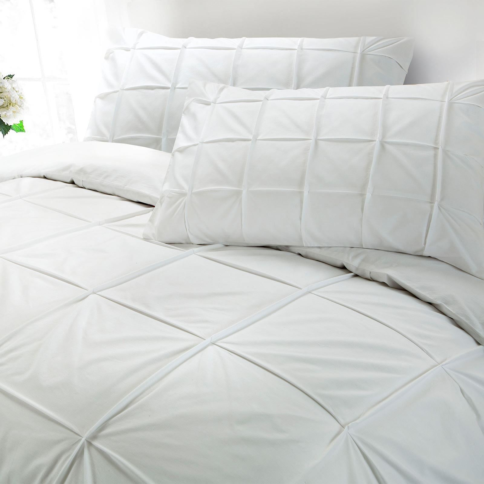 Cartier-100-Egyptian-Cotton-200-Thread-Percale-Pintuck-Duvet-Cover-Bedding-Set thumbnail 11