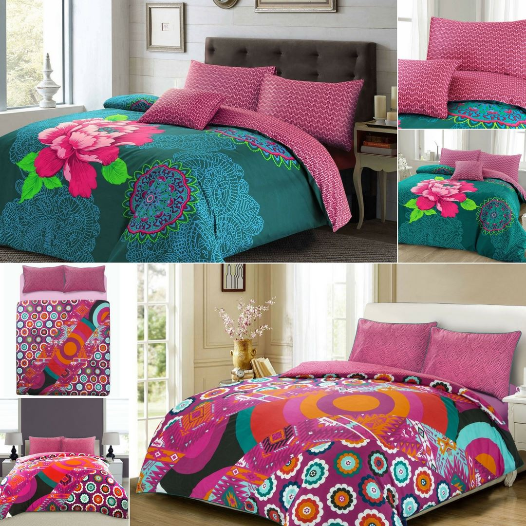 Bohemian Floral Leaf Cotton Blend Teal Pink Duvet Cover Set Double King Single