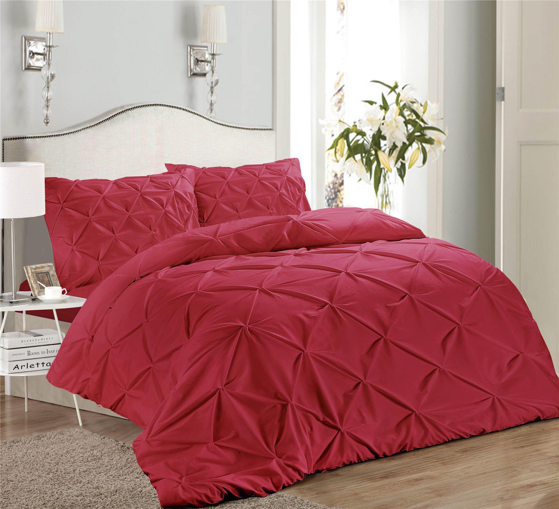Luxury-Pure-100-Cotton-200-Thread-Pinch-Pleat-Pintuck-Puckering-Duvet-Cover-Set thumbnail 40