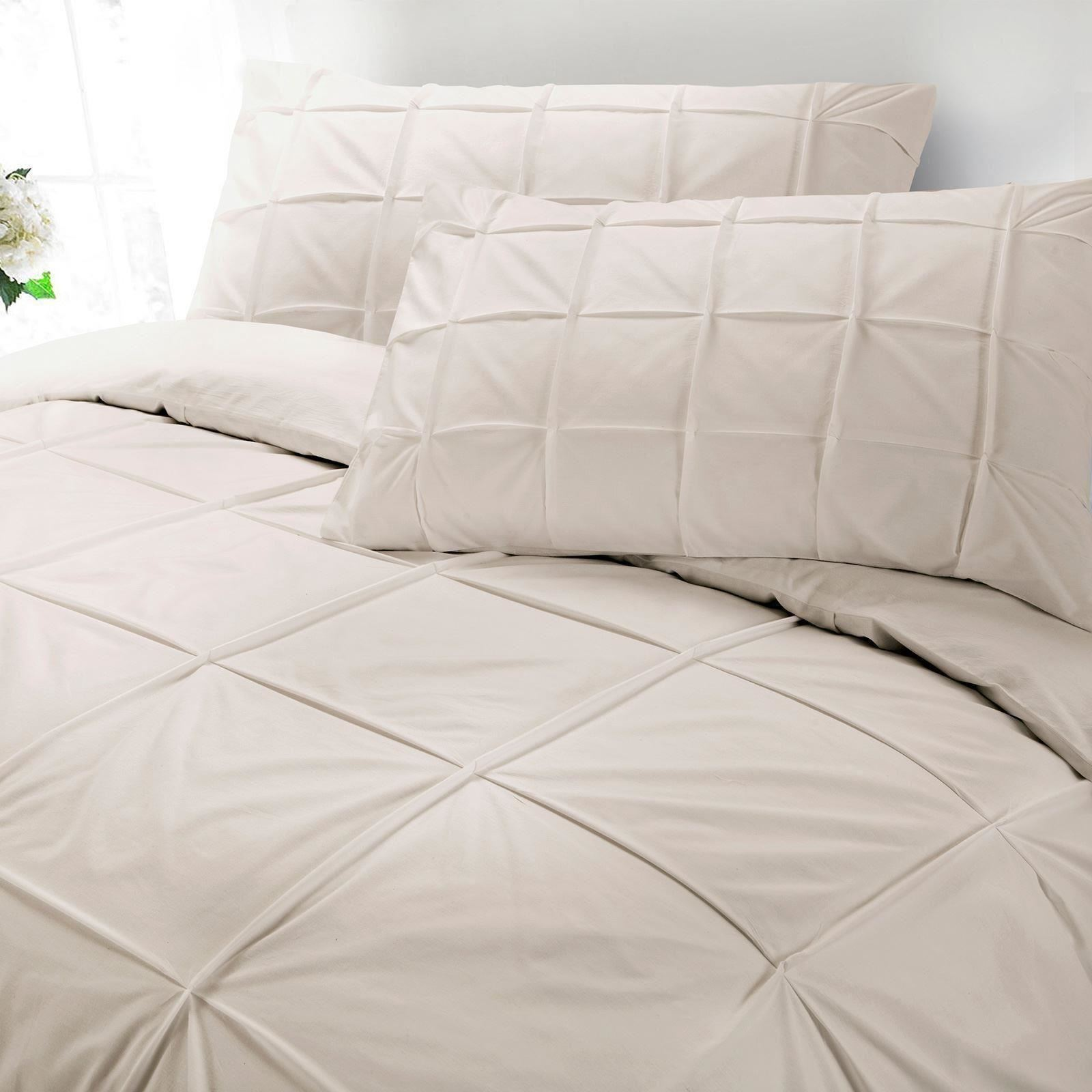 Cartier-100-Egyptian-Cotton-200-Thread-Percale-Pintuck-Duvet-Cover-Bedding-Set thumbnail 5