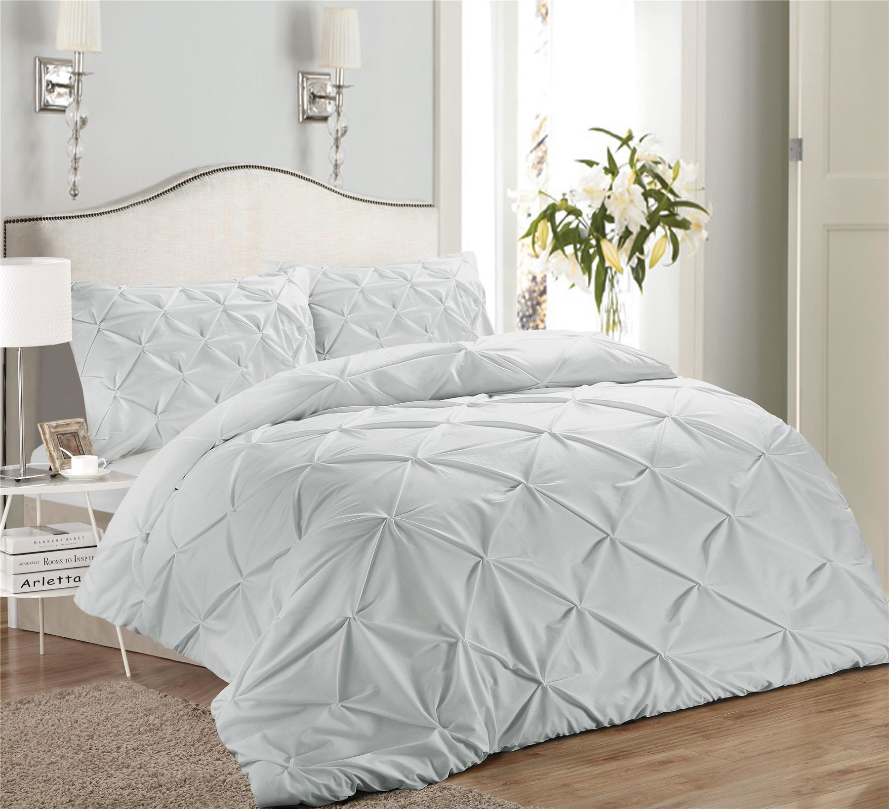 Luxury-Pure-100-Cotton-200-Thread-Pinch-Pleat-Pintuck-Puckering-Duvet-Cover-Set thumbnail 45
