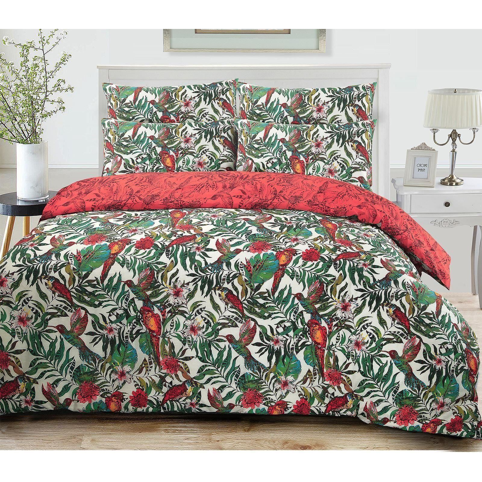3pc amazon jungle wild birds quilt duvet cover pillowcase bedding