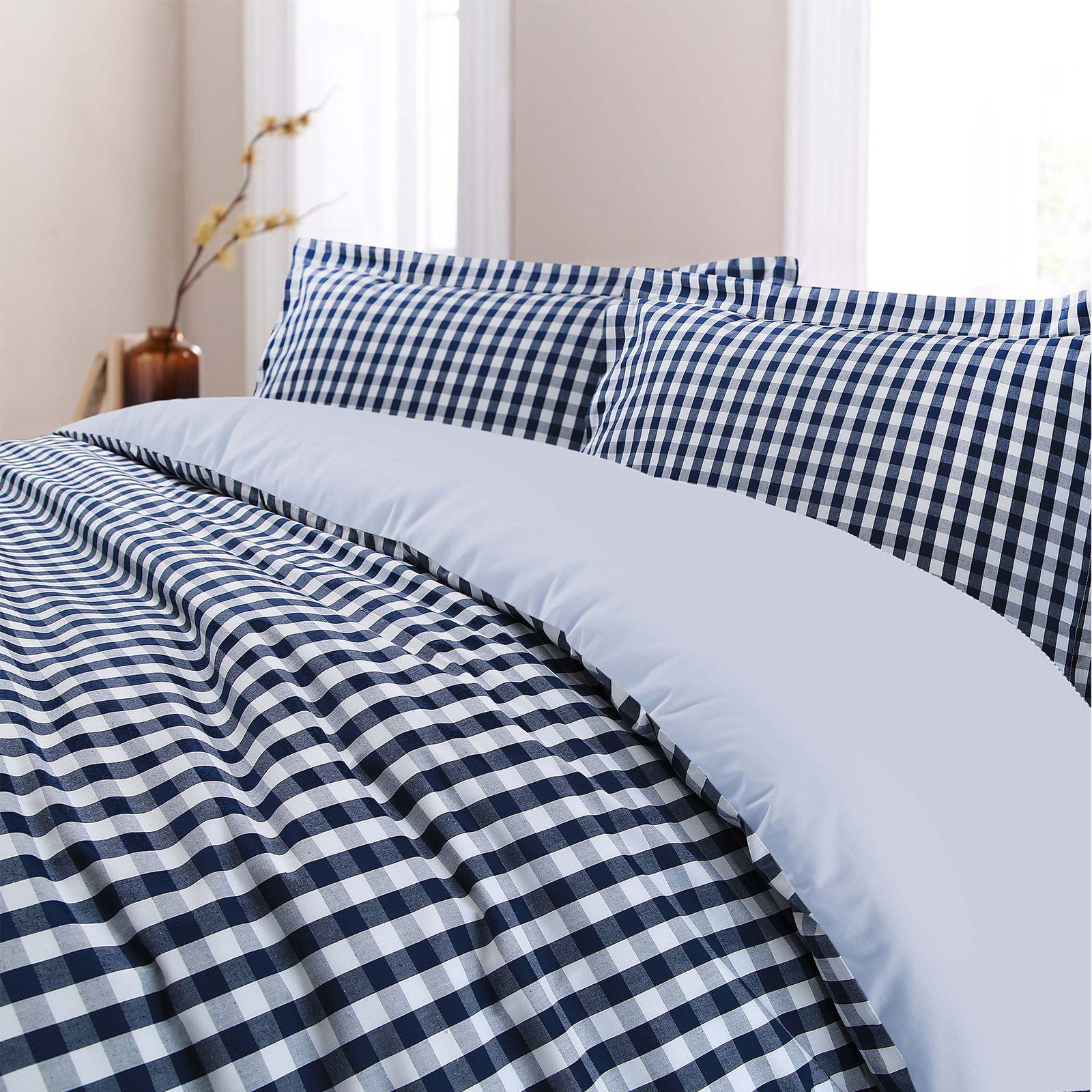 De-Lujo-Gingham-Check-Reversible-100-algodon-T200-conjunto-de-edredon-cubierta-y-fundas-de-almohada miniatura 8