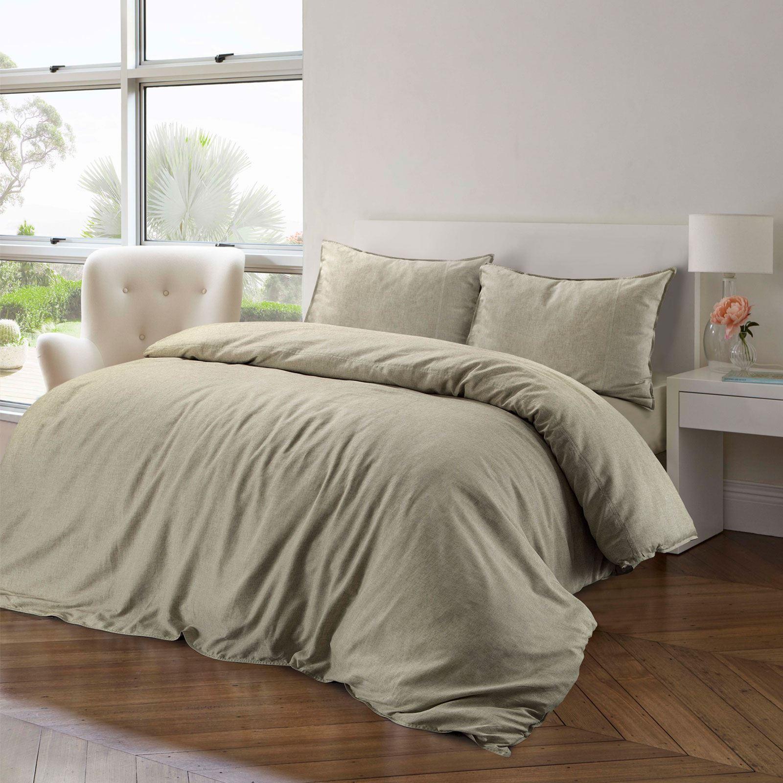100-Cotton-Linen-Pure-Natural-Duvet-Cover-Bedding-Set-Double-King-Single thumbnail 18