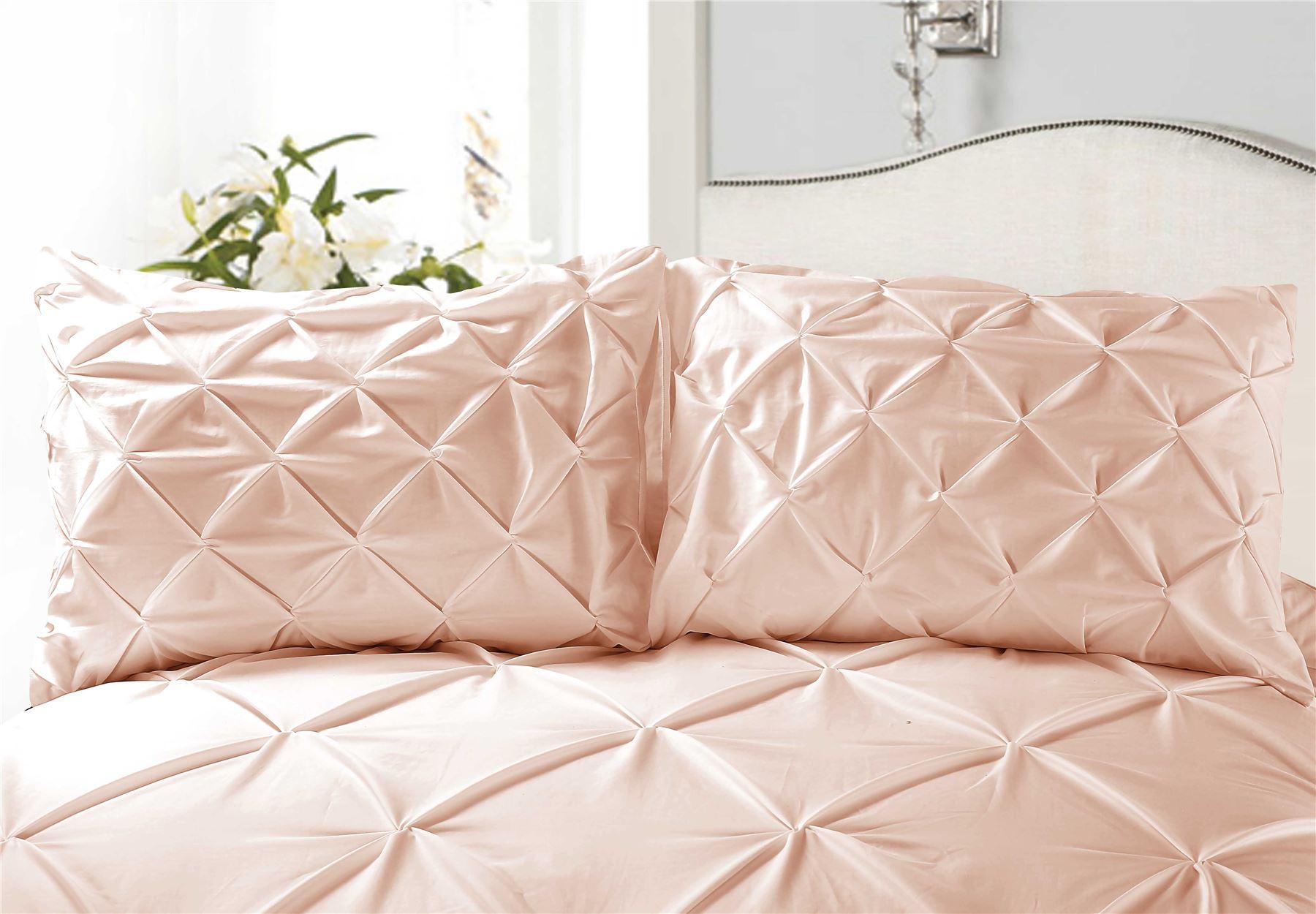 Luxury-Pure-100-Cotton-200-Thread-Pinch-Pleat-Pintuck-Puckering-Duvet-Cover-Set thumbnail 4