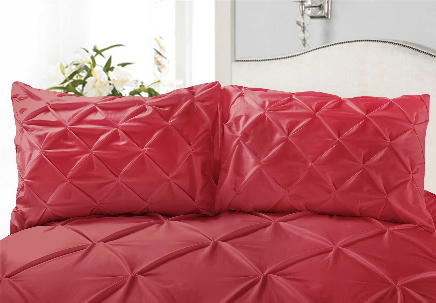 Luxury-Pure-100-Cotton-200-Thread-Pinch-Pleat-Pintuck-Puckering-Duvet-Cover-Set thumbnail 39