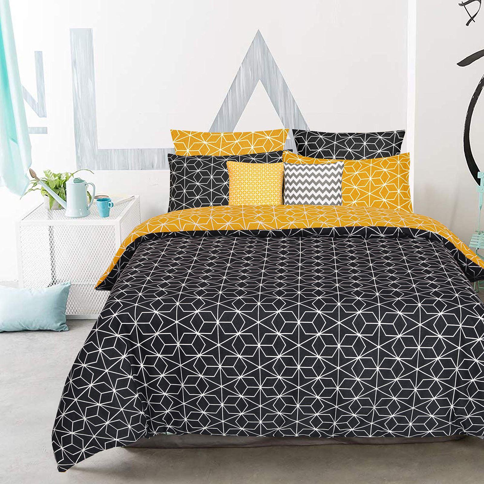 Geometrique-Housse-De-Couette-100-Coton-Couette-Douce-Literie-Simple-Double-King-Taille miniature 4