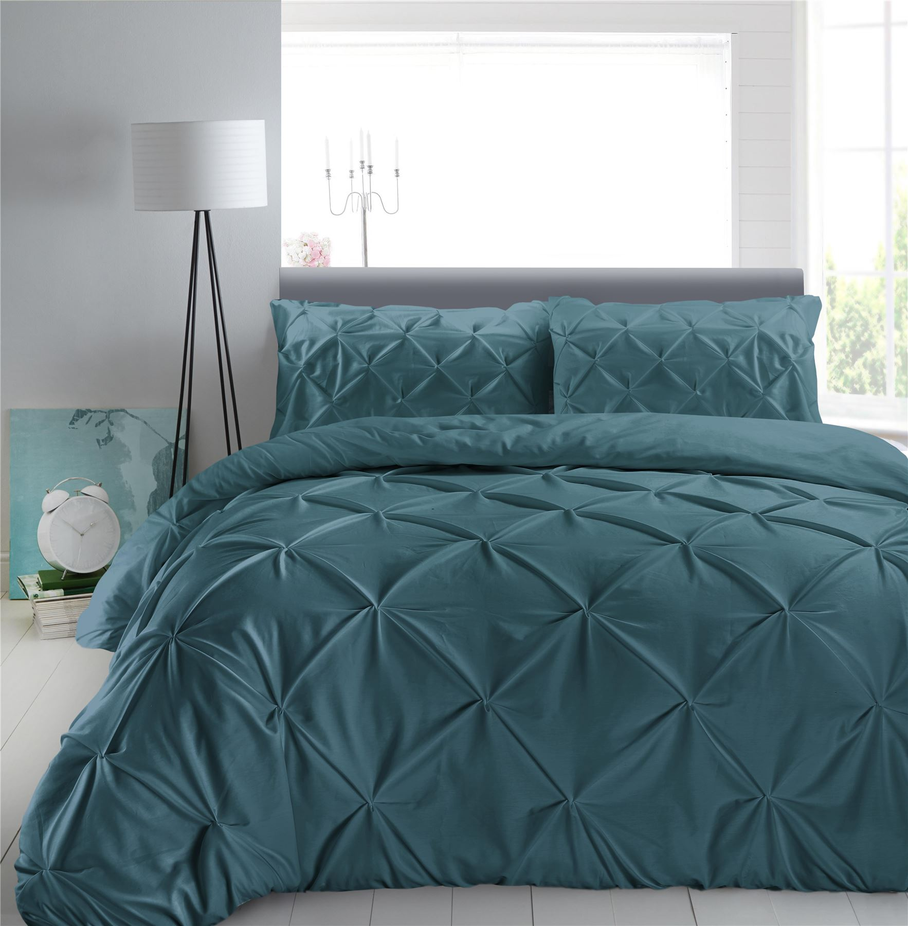 Luxury-Pure-100-Cotton-200-Thread-Pinch-Pleat-Pintuck-Puckering-Duvet-Cover-Set thumbnail 62