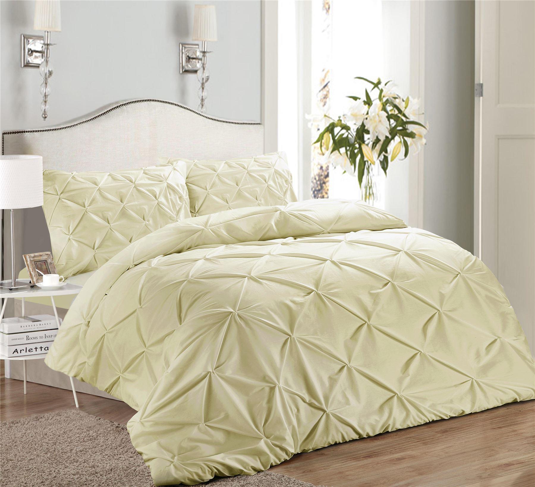Luxury-Pure-100-Cotton-200-Thread-Pinch-Pleat-Pintuck-Puckering-Duvet-Cover-Set thumbnail 50