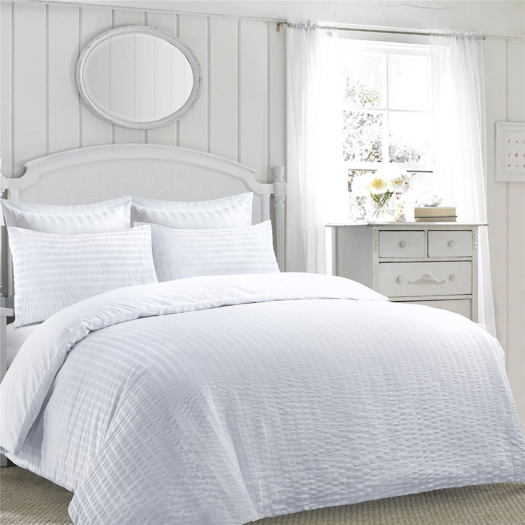 Luxury Duvet Cover Quilt Bedding Set Ruffle Ruched Poly Cotton With Pillowcase