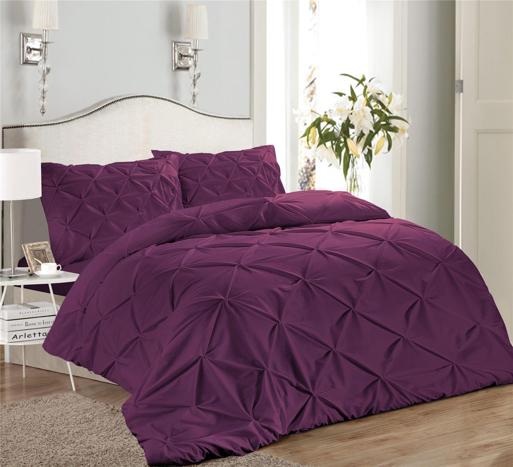 Luxury-Pure-100-Cotton-200-Thread-Pinch-Pleat-Pintuck-Puckering-Duvet-Cover-Set thumbnail 30