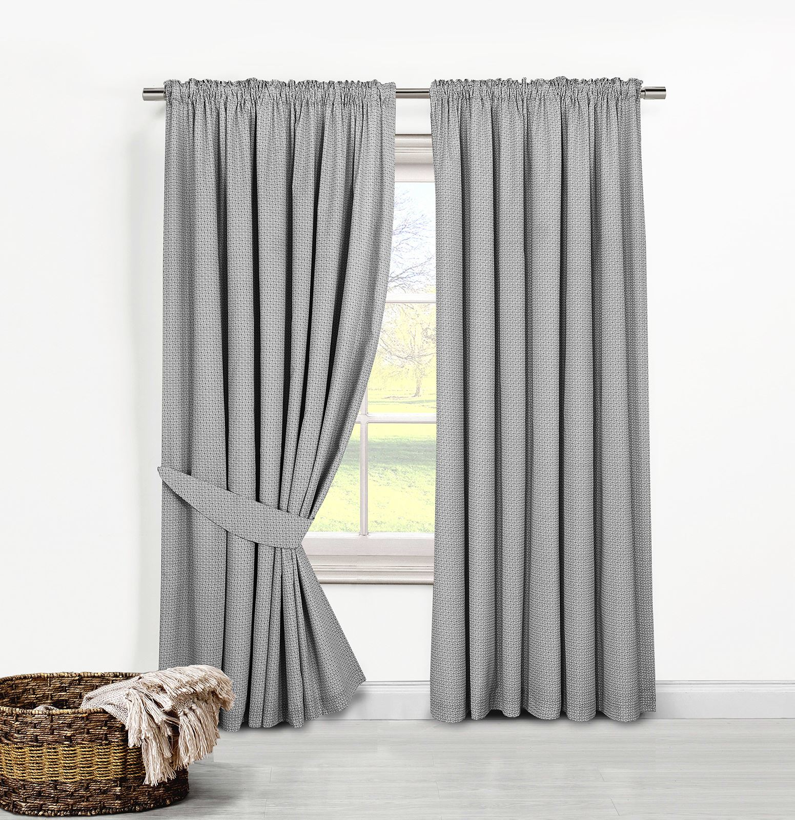 Geometric Curtain PAIR Cotton Blend Pencil Pleated Lined
