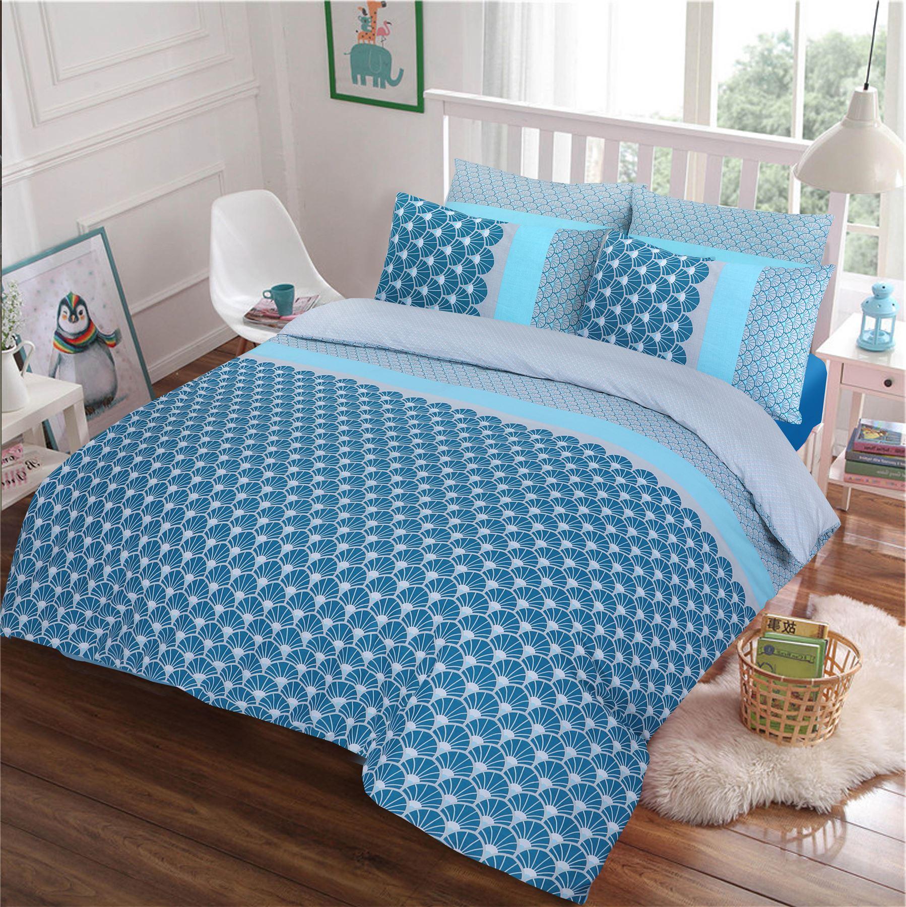 Azure 100/% Cotton Cosy Blue Duvet Cover Bedding Set Single Double King Size