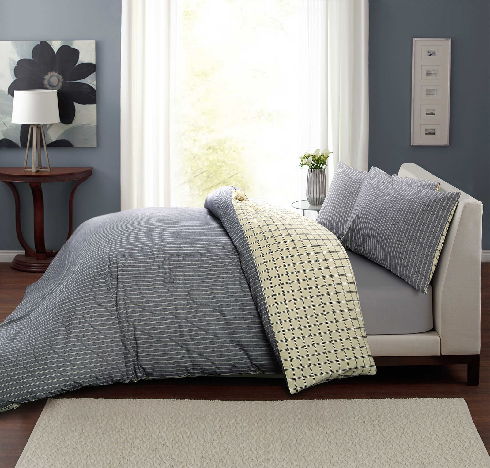 100-algodon-duvet-cover-set-raya-Cuadros-Reversible-Ropa-De-Cama-Individual-Doble-King miniatura 3