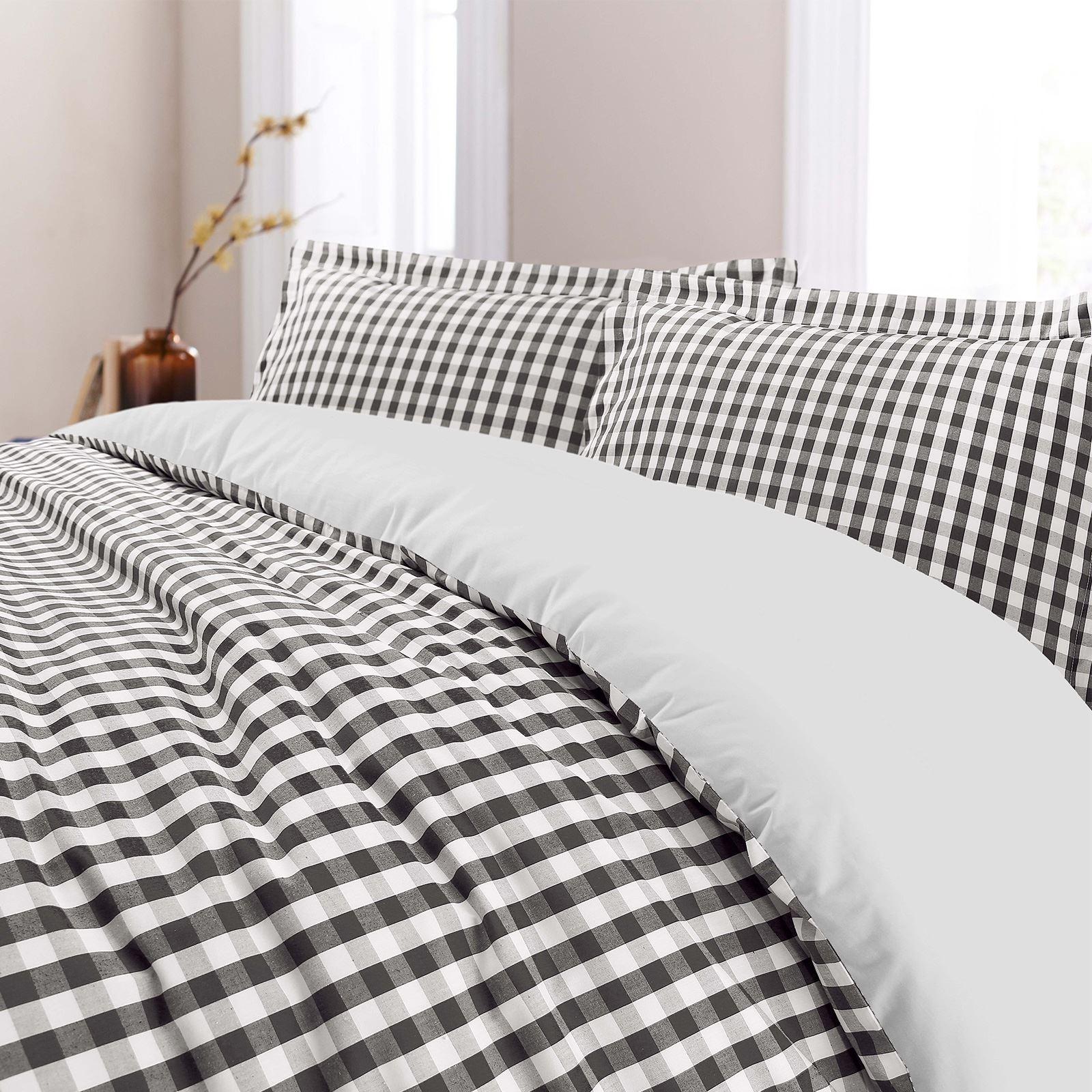 De-Lujo-Gingham-Check-Reversible-100-algodon-T200-conjunto-de-edredon-cubierta-y-fundas-de-almohada miniatura 12