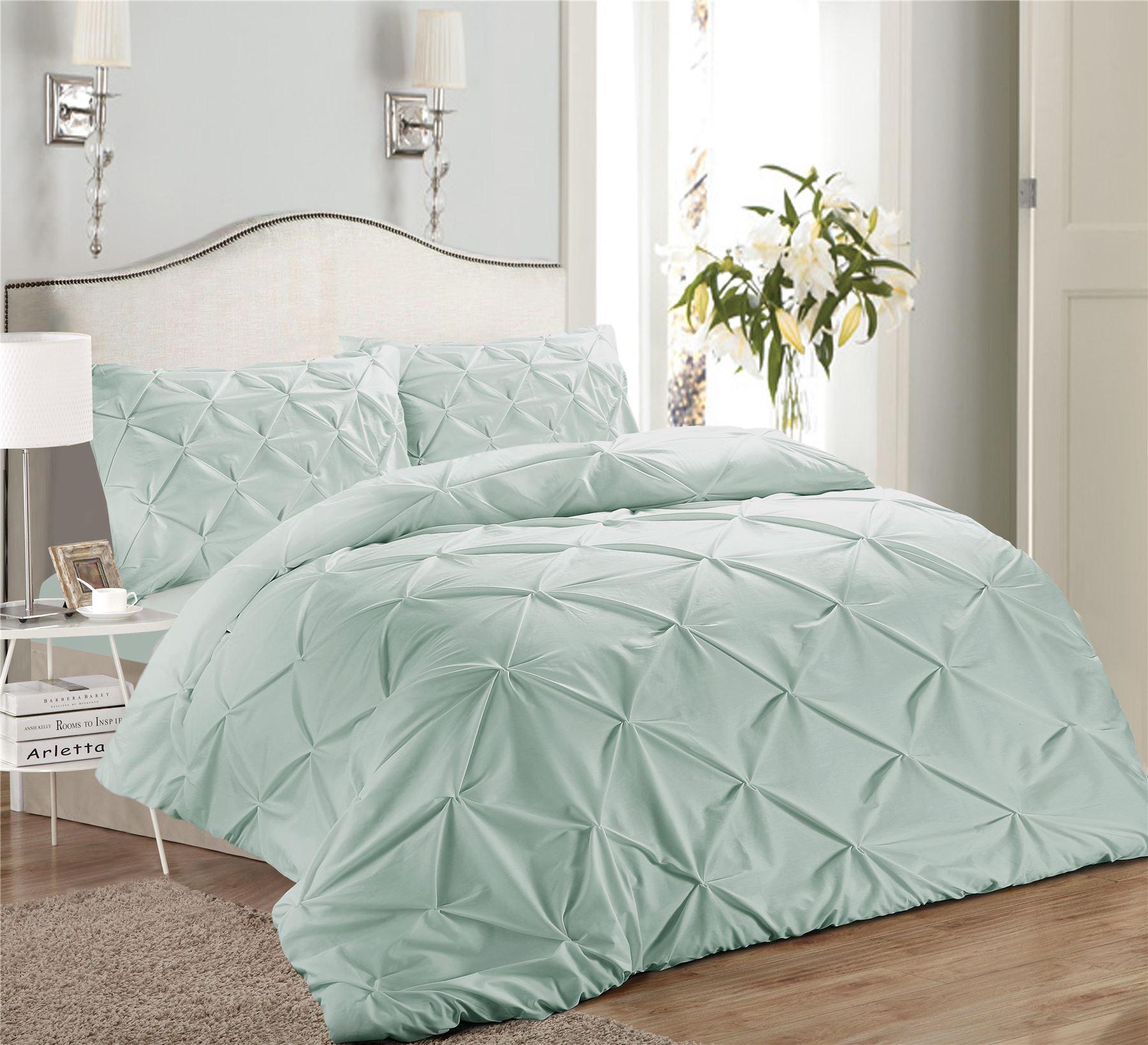 Luxury-Pure-100-Cotton-200-Thread-Pinch-Pleat-Pintuck-Puckering-Duvet-Cover-Set thumbnail 15