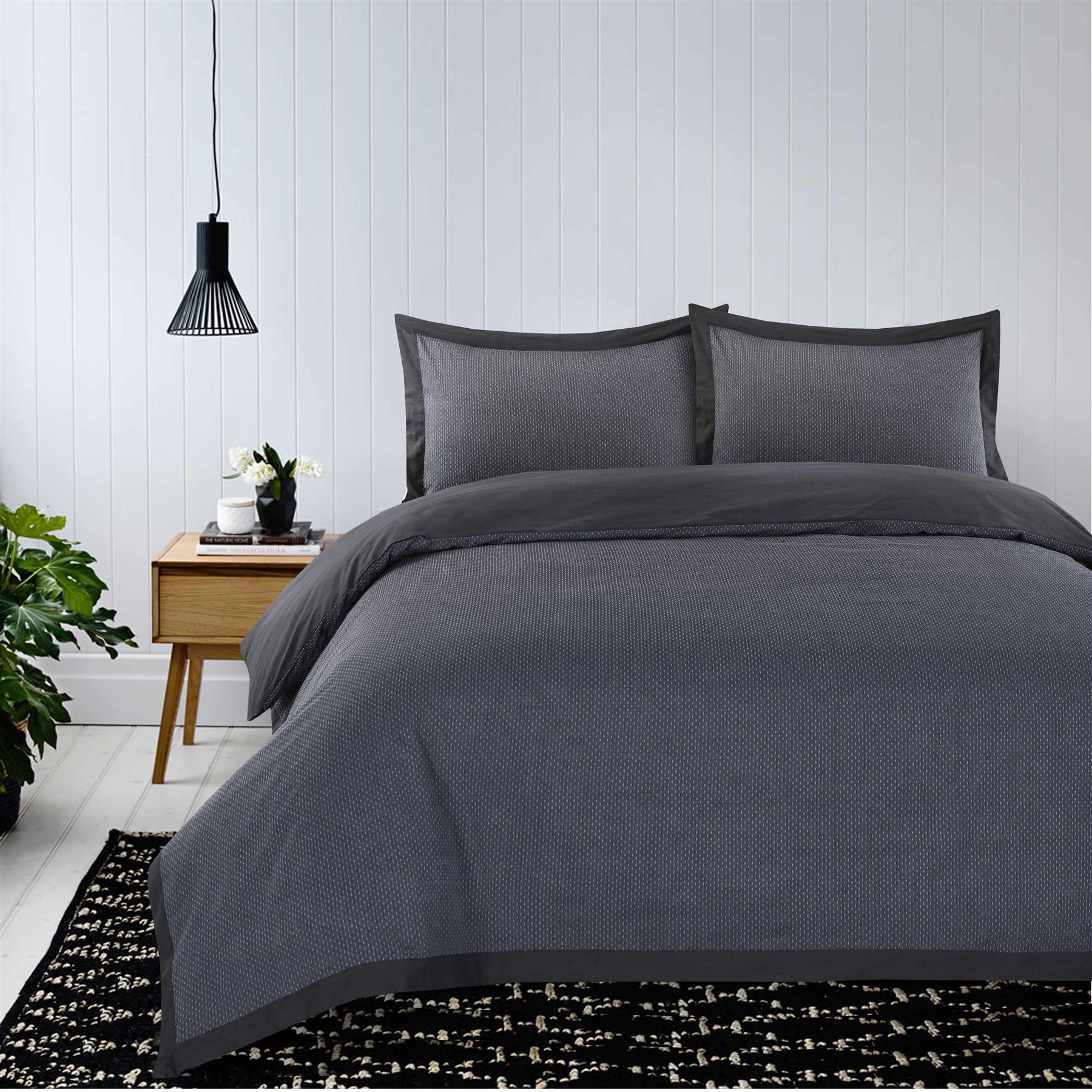 Luxury-Dobby-Dots-Dotted-100-Cotton-Duvet-Cover-Bedding-Set-Single-Double-King thumbnail 5