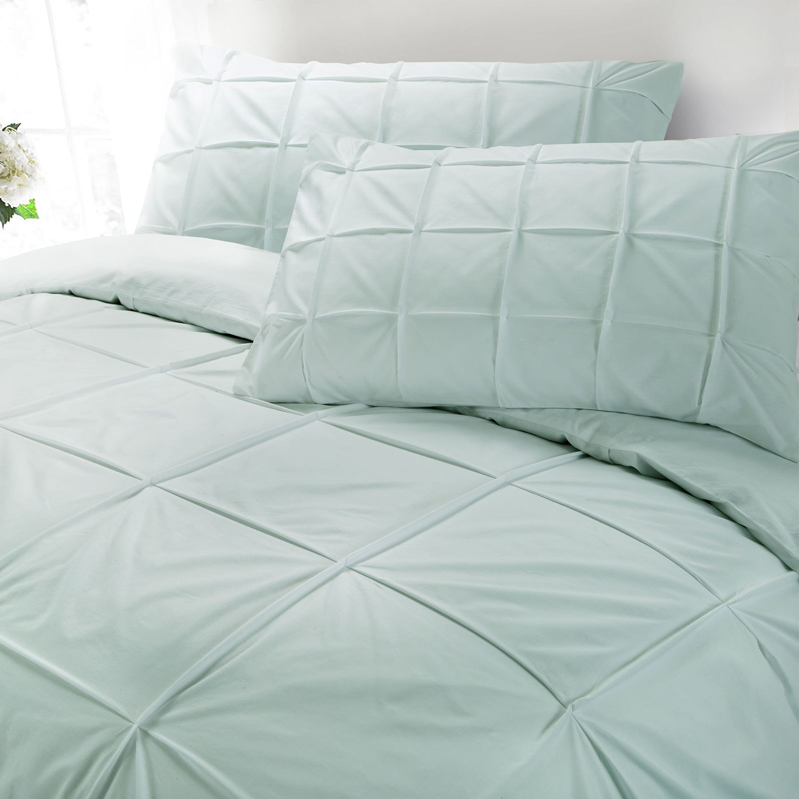 Cartier-100-Egyptian-Cotton-200-Thread-Percale-Pintuck-Duvet-Cover-Bedding-Set thumbnail 9