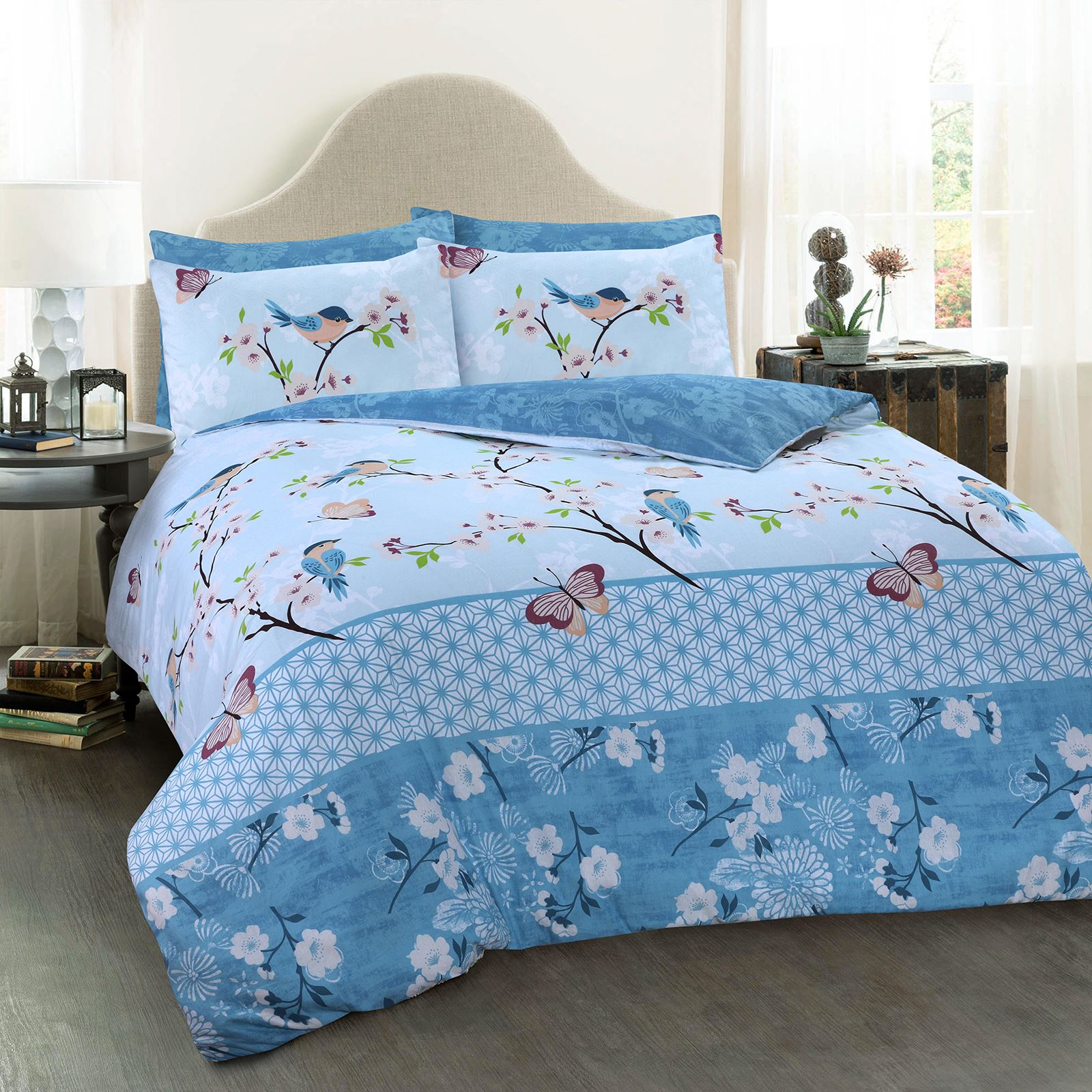 Oriental Floral Butterfly Birds Cosy 100 Cotton Blue