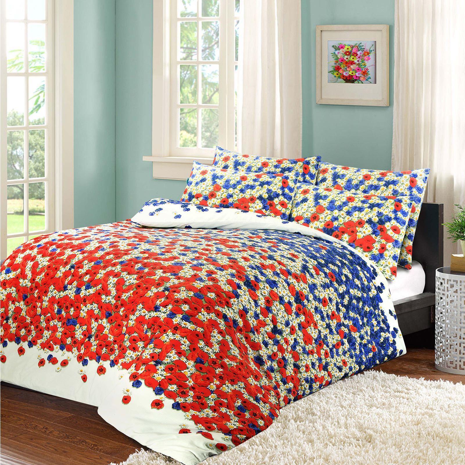 Poppy Cotton Blend Duvet Cover Set Print Floral Flower Colour Bright Red  Blue