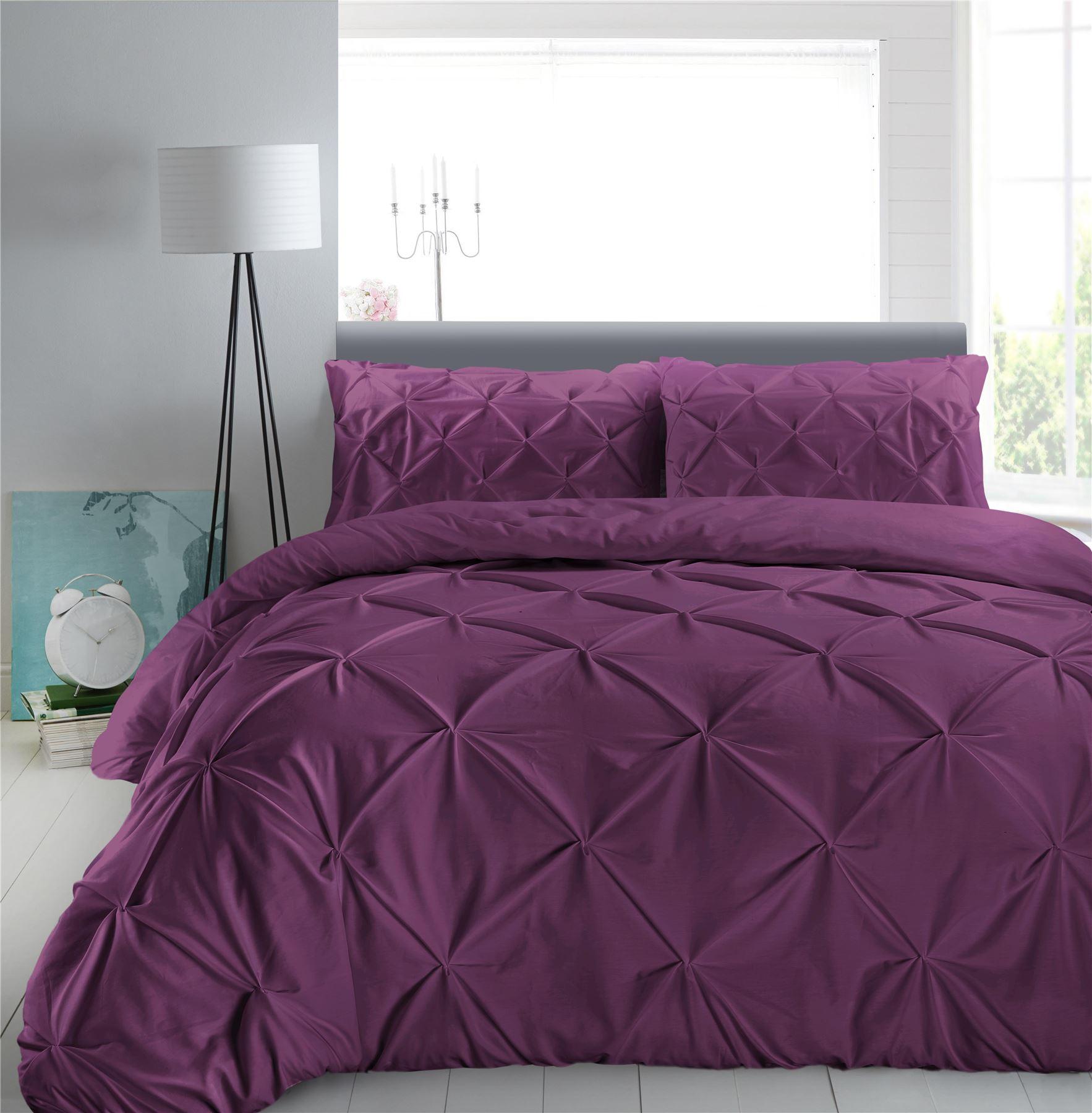 Luxury-Pure-100-Cotton-200-Thread-Pinch-Pleat-Pintuck-Puckering-Duvet-Cover-Set thumbnail 32