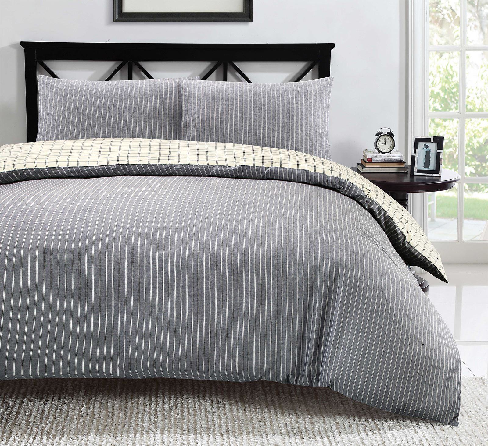 100-algodon-duvet-cover-set-raya-Cuadros-Reversible-Ropa-De-Cama-Individual-Doble-King miniatura 5