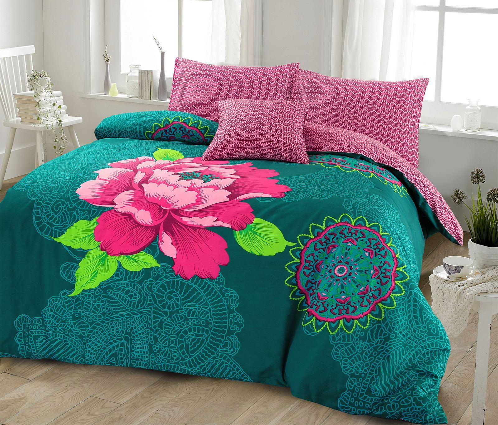 Ropa-de-cama-estampado-floral-bohemio-conjunto-de-edredon-de-funda-nordica-individual-Doble-King miniatura 9