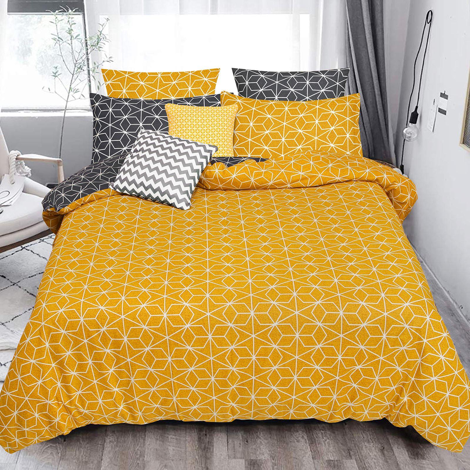 Geometrique-Housse-De-Couette-100-Coton-Couette-Douce-Literie-Simple-Double-King-Taille miniature 3