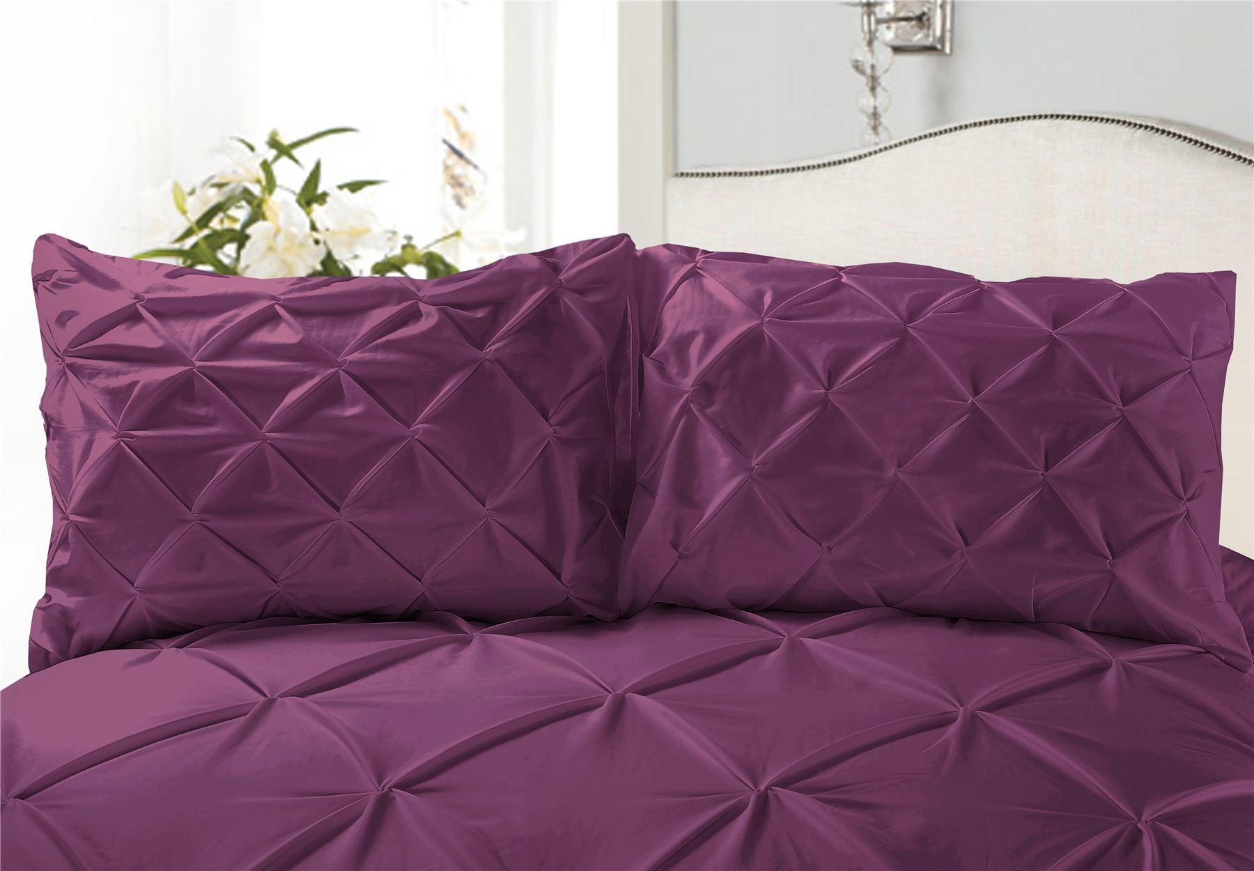 Luxury-Pure-100-Cotton-200-Thread-Pinch-Pleat-Pintuck-Puckering-Duvet-Cover-Set thumbnail 29