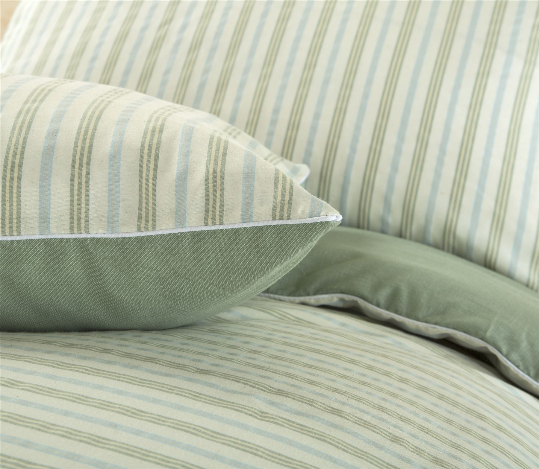 Hilo-de-algodon-de-lujo-Rico-Suave-Chambray-tenido-de-Cubierta-de-edredon-a-rayas-de-tejido-a-rayas miniatura 32