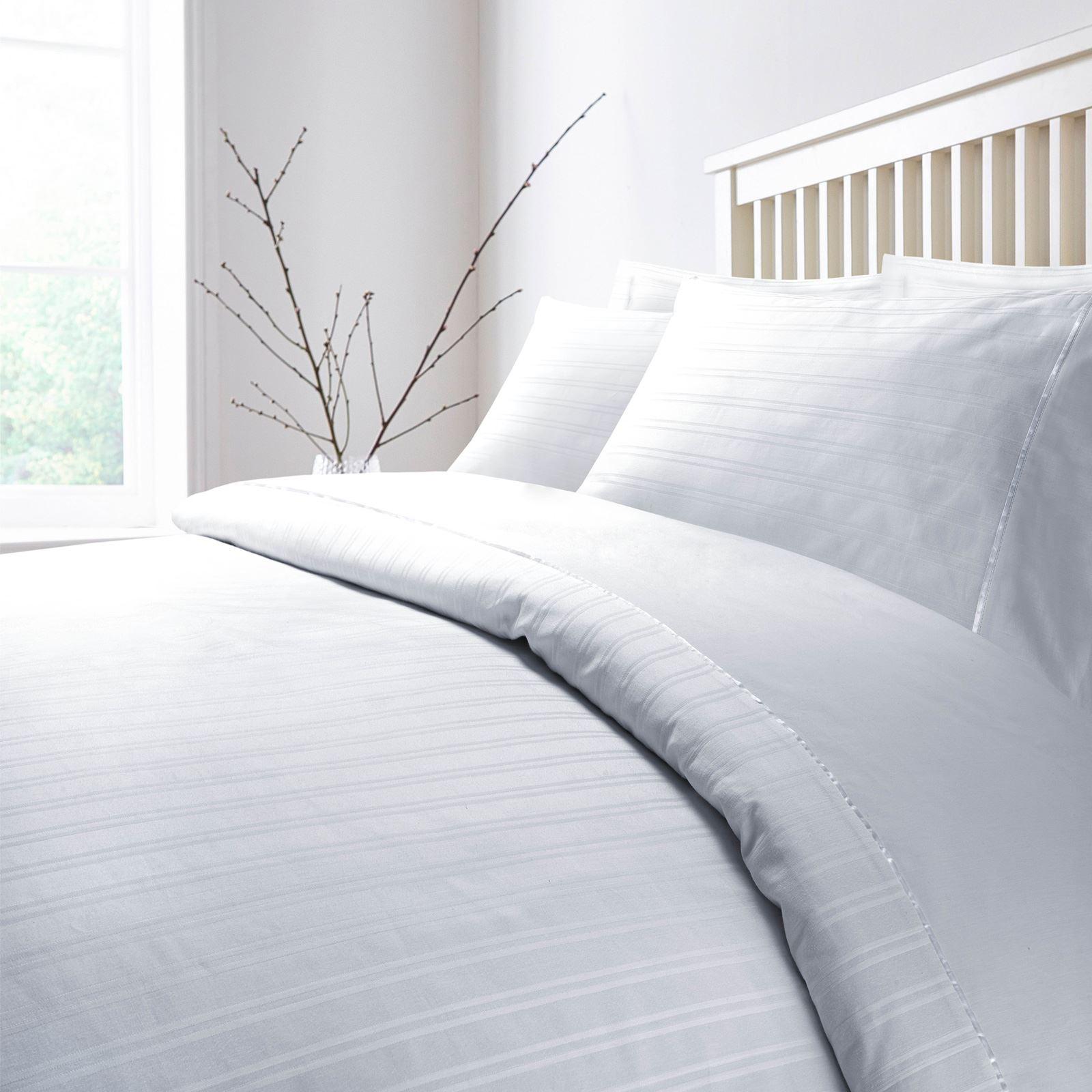 Hotel-Quality-400-Thread-100-Cotton-Satin-Sateen-Stripe-Duvet-Cover-Bedding-Set thumbnail 8