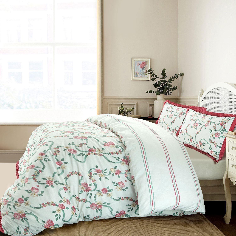 Volantes-Floral-Rosa-Volante-Edredon-Duvet-cover-set-solo-Doble-Super-Rey-Ropa-De-Cama miniatura 4
